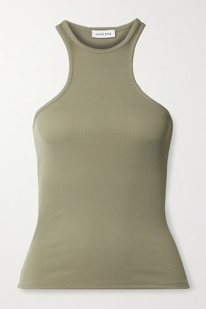 Morgan Ribbed Stretch-jersey Tank - Army green