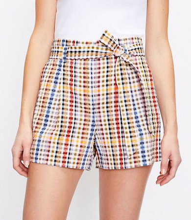 The Petite Paperbag Pull On Short in Gingham