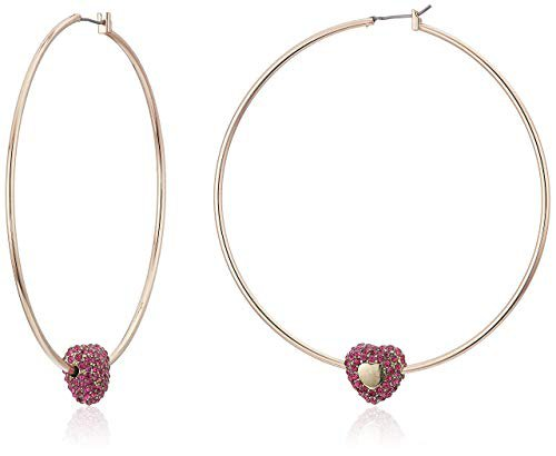 Betsey Johnson Fuchsia Pave Stone Heart Hoop Earrings, Fuchsia, One Size: Clothing