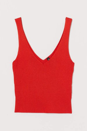 Ribbed Camisole Top - Orange