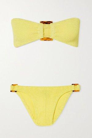 Yellow + NET SUSTAIN Gloria embellished seersucker bandeau bikini | HUNZA G | NET-A-PORTER