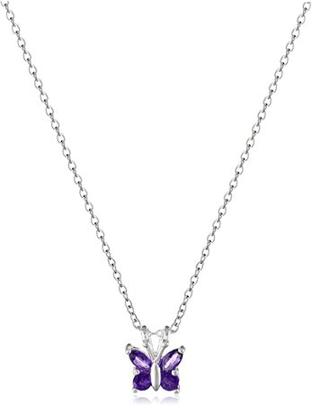 """Amazon.com: Amazon Collection Sterling Silver Genuine Amethyst Butterfly Pendant Necklace, 18"""": Jewelry"""