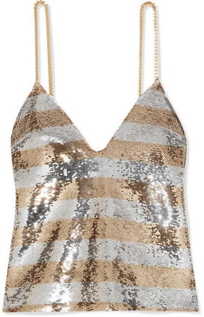 Chain-embellished Striped Sequined Crepe Camisole - Gold