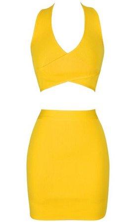 Halter Two Piece Dress Yellow