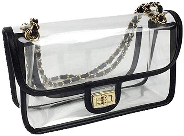 Amazon.com | Womens Transparent Bag Small Clear PVC Purse Flap Chains Handbag with Turn Lock (White Trim) | Luggage & Travel Gear