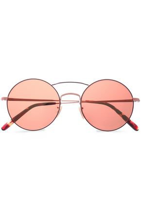 Round-frame rose gold-tone sunglasses | OLIVER PEOPLES | Sale up to 70% off | THE OUTNET