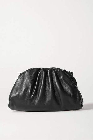 The Pouch Small Gathered Leather Clutch - Black