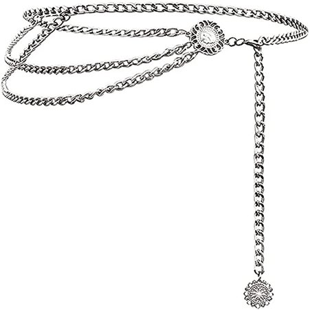 Glamorstar Multilayer Metal Waist Chain Dress Belts Metal Belt for Women Silver 110CM/43.3IN at Amazon Women's Clothing store