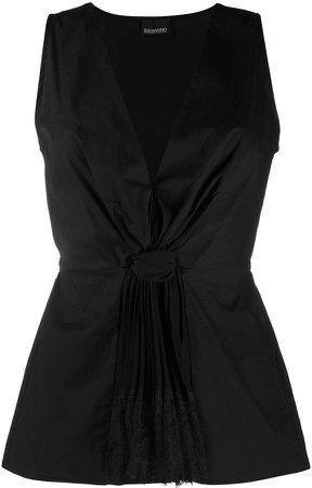 lace-embellished sleeveless top