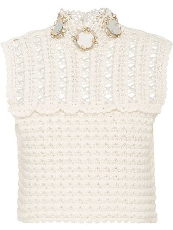 Miu Miu Cotton Crochet Top With Embellishment - Farfetch