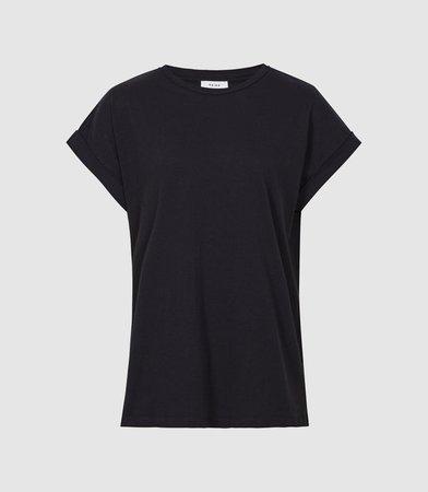 Tereza Navy Cotton-Jersey T-Shirt – REISS