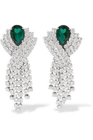 Alessandra Rich   Silver-tone crystal clip earrings   NET-A-PORTER.COM