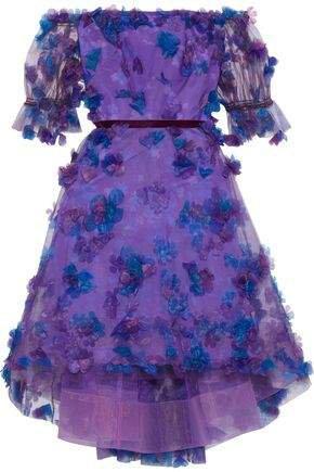 Off-the-shoulder Floral-appliqued Printed Tulle Dress