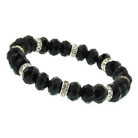 Silver-Tone Black Beaded Stretch Bracelet