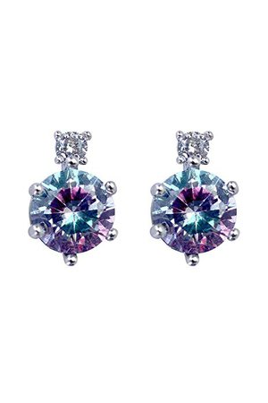 Amazon.com: Sharing Happiness Aurora White Gold Plated Cubic Zirconia Multicolored Crystal Stud Earrings with Ear Sensitive 925 Sterling Silver Post for Women (Blue/Pink): Jewelry