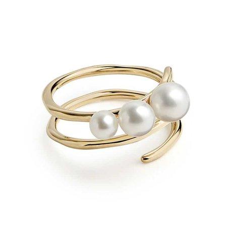 IPPOLITA Nova Spiral Ring in Pearl in 18K Gold
