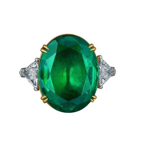 Emilio Jewelry 17.37 Carat Vivid Green Oval Emerald Diamond Ring For Sale at 1stDibs