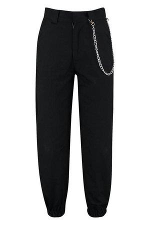 black cargo pants w/ chain