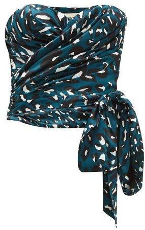 Leopard Print Stretch Satin Bustier Top - Womens - Blue Print