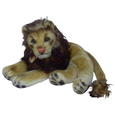 Large 1950's Steiff Laying Down Leo Lion : Fun City   Ruby Lane