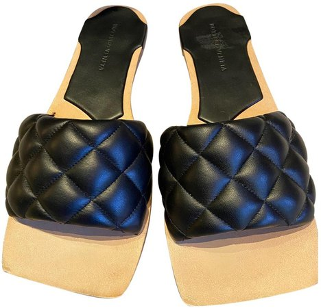 Padded Black Leather Sandals