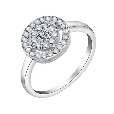 CZ Crystal Rings, Engagement Wedding Rings for Women, Silver (Flower, 7.25): Clothing