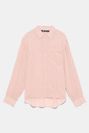 SHIRT WITH POCKET   ZARA United States pink