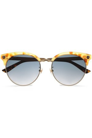Gold Clubmaster printed acetate and burnished gold-tone sunglasses | Sale up to 70% off | THE OUTNET | GUCCI | THE OUTNET
