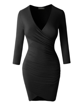 LE3NO Womens Lightweight 3/4 Sleeve Side Ruched Dress | LE3NO black