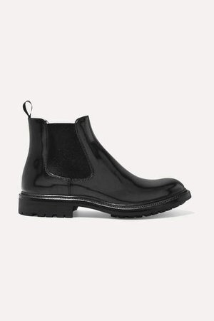 Genie Glossed-leather Chelsea Boots - Black