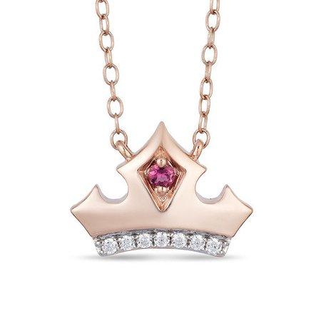 Sleeping Beauty diamond crown necklace