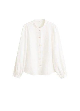 MANGO Button linen-blend blouse