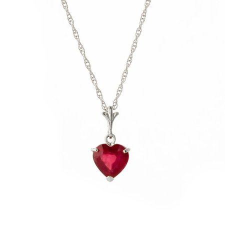 Ruby Heart Pendant Necklace 1.45 ct in 9ct White Gold - 4160W | QP Jewellers