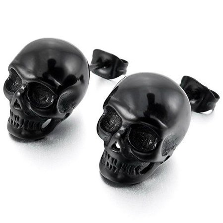Black Stainless Steel Stud Earrings