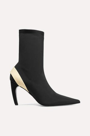 Rubber-trimmed Stretch-knit Sock Boots - Black