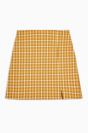 Mustard Stretch Check Mini Skirt   Topshop