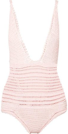 Lalita Crocheted Cotton Swimsuit - Pastel pink