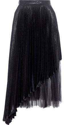 Layered Tulle And Pleated Lame Silk-blend Midi Skirt