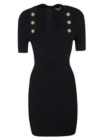 Balmain Button Embellished Zipped Dress