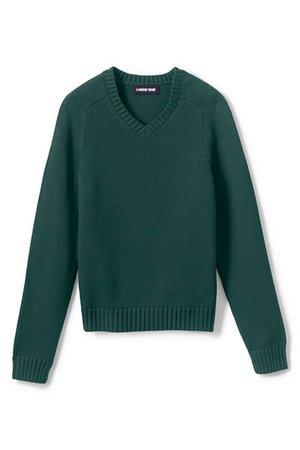School Uniform Kids Cotton Modal V-neck Sweater   Lands' End
