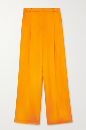 Pleated Silk-satin Wide-leg Pants - Orange