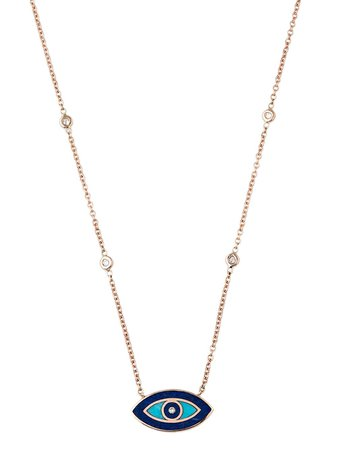 Jacquie Aiche 14kt Rose gold, diamond, Lapis And Turquoise Inlay Eye Necklace - Farfetch