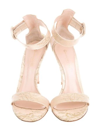 Gianvito Rossi NEW Gold Nude Tan Leather Lace Evening Sandals Heels Pumps