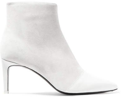 Beha Paneled Leather And Suede Ankle Boots - White