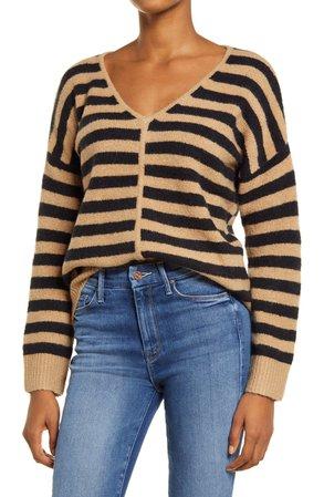 Madewell Bobble Stripe V-Neck Sweater   Nordstrom