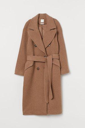 Long Wool-blend Coat - Dark beige - Ladies | H&M US
