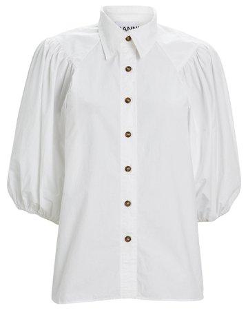 GANNI Puff Sleeve Poplin Button Down Blouse | INTERMIX®