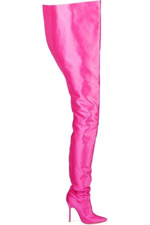 High pink satin boot