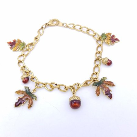 Vintage Enameled Acorns & Fall Leaves Gold-Tone Charm Bracelet | Etsy