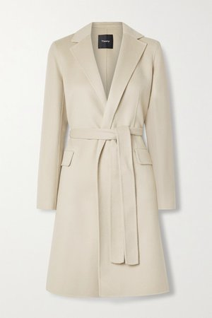New Divide Belted Wool And Cashmere-blend Coat - Beige